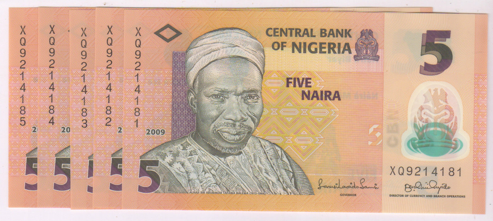 Nigeria : 5 consecutive 5 Naira 2009 UNC polymer currency notes