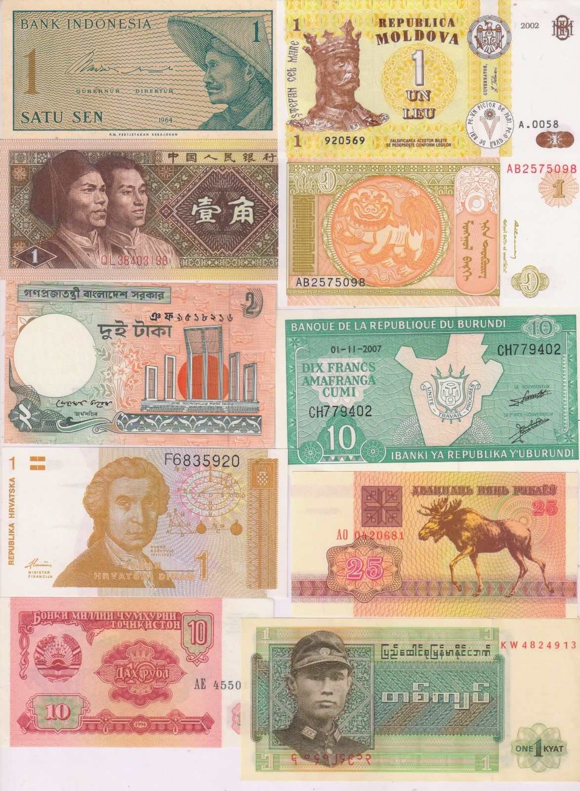 World - 10 different countries currency notes w/2 - KB