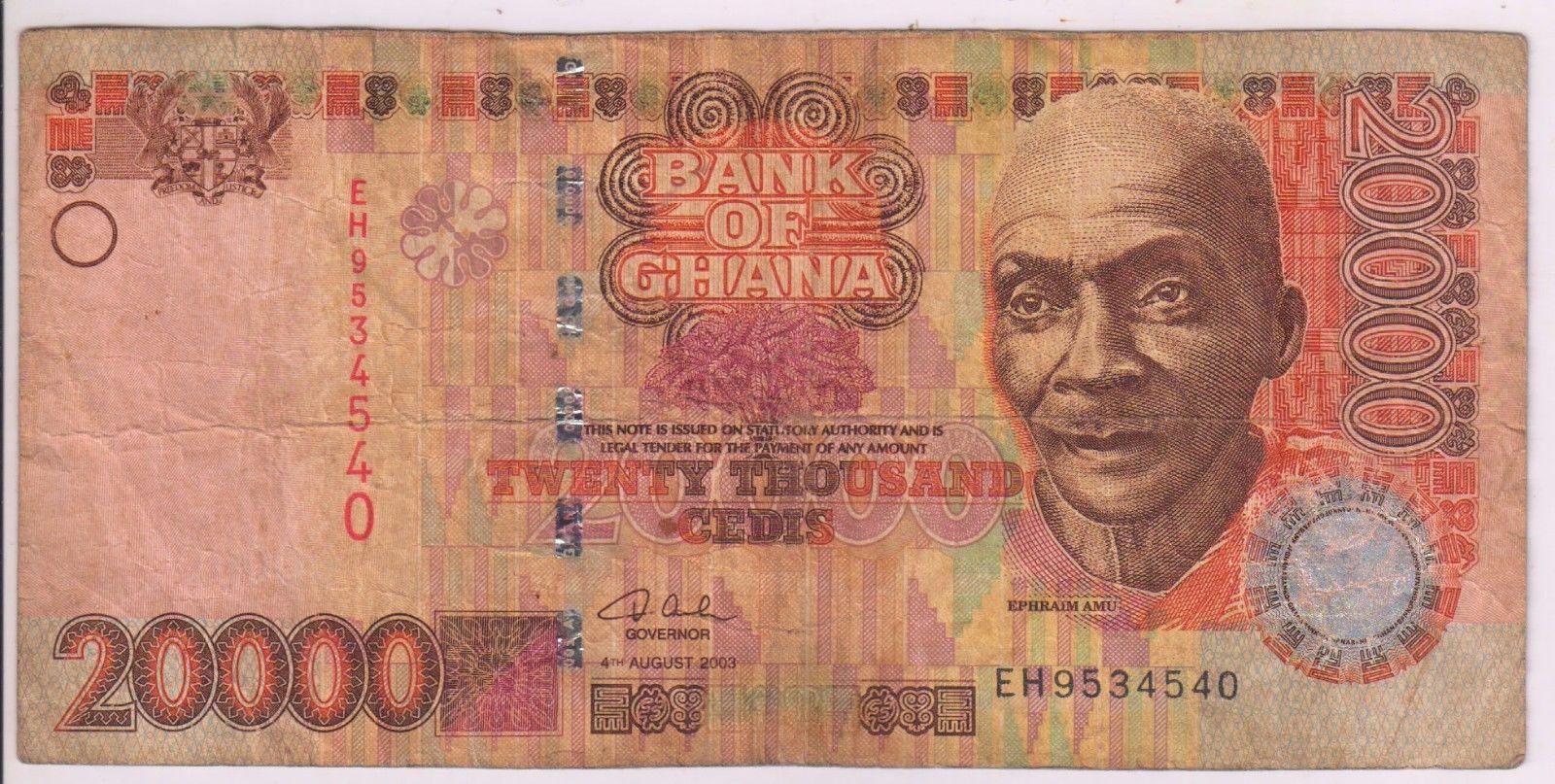 ghana 20000 cedis 2003 currency note eh kb coins currencies