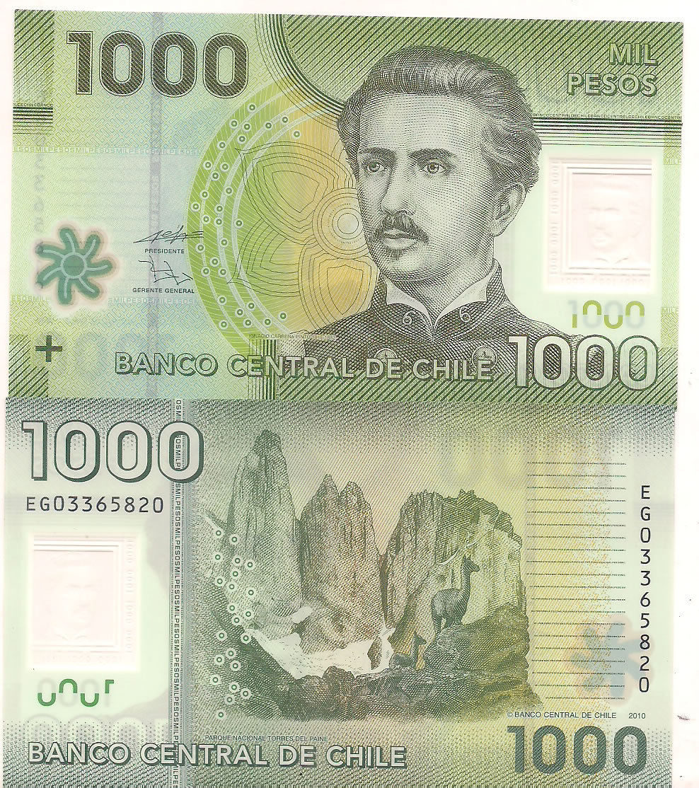 Chile 1000 Pesos Polymer Unc Currency Note Kb Coins Currencies