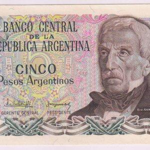 ARGENTINA 1-5 10 centavos  issue 1983 and 1 peso issue 1984 UNC