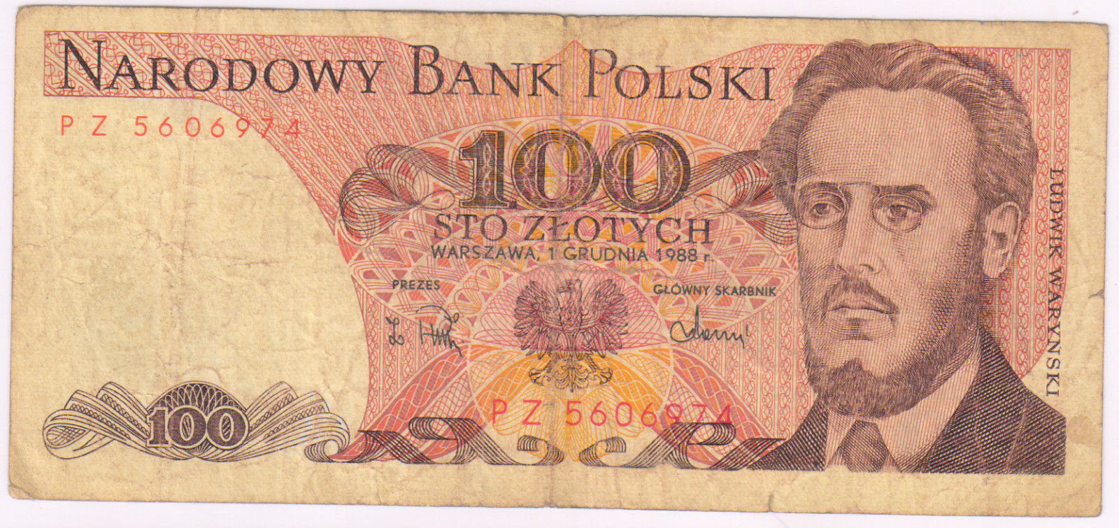Poland : 100 zlotych 1988 used currency note