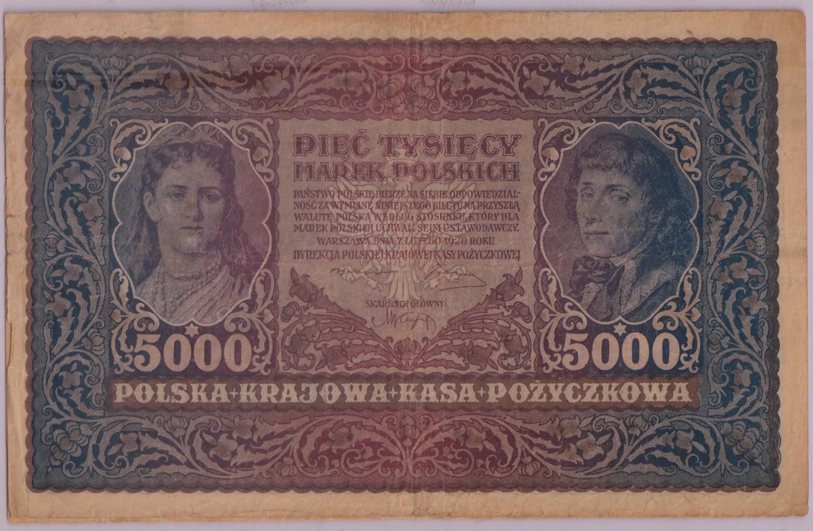 Poland - 5000 marek 1919 currency note ( large size)