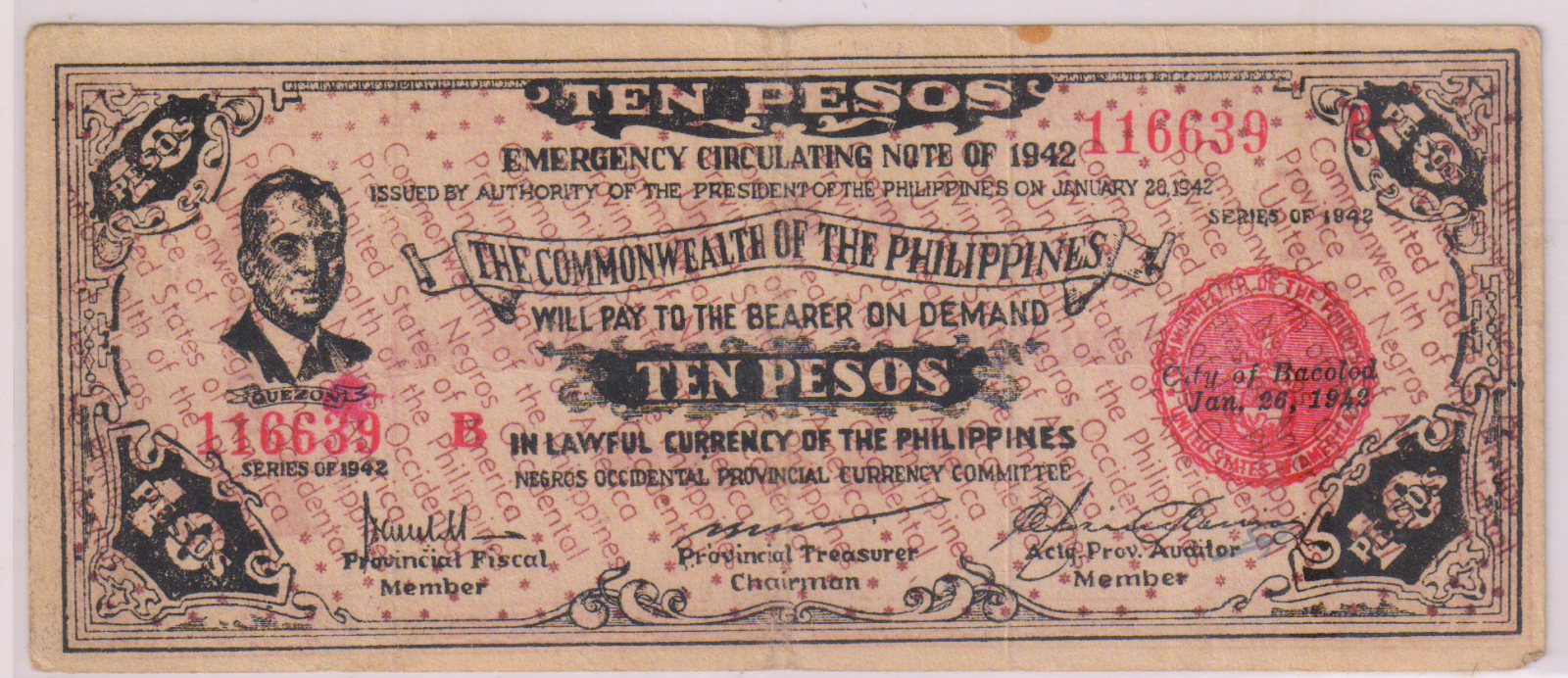 Negros- Philippines - Emergency-issue- 1 peso 1942 currency note RN E