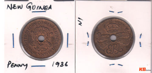 New Guinea - 1 shilling 1945 G VI silver holed coin - KB